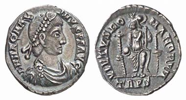 Magnus Maximus (383-388). Siliqua, Trier, 383-388. Draped bust wearing pearl diadem. Rv. Roma seated facing with globe and spear. RIC 84b. From Künker sale 115 (2006), 856.