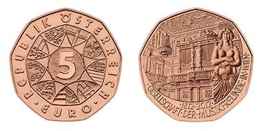 Die 5-Euro-Neujahrsmünze aus Kupfer. Quelle: Münze Österreich AG.