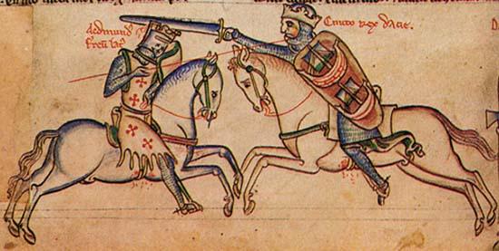 Edmund Eisenseite (li.) kämpft gegen den siegreichen Knut (re.). Illustration aus dem 14. Jh. Quelle: Wikipedia.