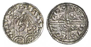 Harald I. (1035-1040). Penny, London, ca. 1038-1040. Brustbild n. l. mit Lilienzepter. Rv. Doppelfadenkreuz. Seaby 1165. Aus Auktion Künker 176 (2010), 5882.