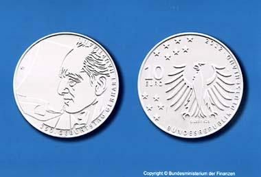1. Preis des Münzwettbewertbs 10-Euro-Gedenkmünze 150. Geburtstag Gerhart Hauptmann. Foto: Hans Jan Krüger, Stuttgart und Hans Joachim Wuthenow, Berlin. (C) Bundesministerium der Finanzen.