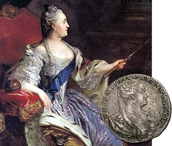 Monumental official painting of the Tsarina Catherine II by Fedor Rokotov, 1763. On the right the 1766 Rouble Lot 2092.