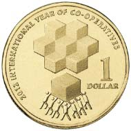 The $1 coin in occasion of the UN International Year of Co-operatives.