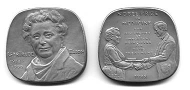 The Gertrude Elion medal was sculpted by Daniel Altshuler. The reverse pictures Dr. Elion receiving the Nobel Prize in Medicine from Carl XVI Gustaf, King of Sweden.