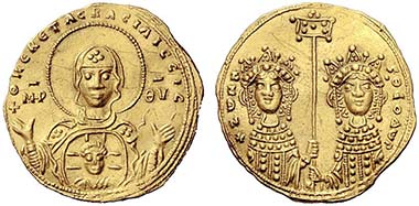 No. 706: BYZANTINE COINS. Zoe and Theodora (April-June 1042). Histamenon nomisma, 1042, Constantinopolis. DOC 1. Of greatest rarity. Extremely fine. Realized: 50,000 euros.