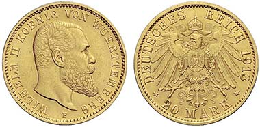 No. 790: GERMAN EMPIRE. Wuerttemberg, William II (1891-1918). 20 mark 1913, Stuttgart. Jaeger 296. Very rare. Very fine / extremely fine. Realized: 16,500 euros.