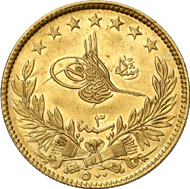 763: Ottoman Empire. Muhammad V, 1909-1918. 500 Kurush 1327 H. on the city visit to Manastir. KM 807. Only 20 specimens were minted. Extremely fine. Estimate: 7,500 EUR. Hammer price: 36,000 EUR.
