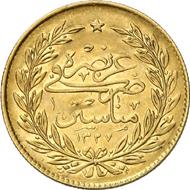 763: Ottomanisches Reich. Muhammad V., 1909-1918. 500 Kurush 1327 H. auf den Stadtbesuch in Manastir. KM 807. Nur 20 Exemplare geprägt. Vorzüglich. Schätzung: 7.500 EUR. Zuschlag: 36.000 EUR.