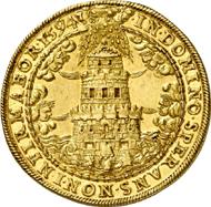 1006: Salzburg. Wolf Dietrich von Raitenau, 1587-1612. 10 Dukaten 1594, Turmprägung. Fb. 672. Vorzüglich. Aus Sammlung Vogel. Schätzung: 25.000 EUR. Zuschlag: 44.000 EUR.