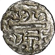Fig. 1: Charles the Great (768-814). Denarius, Bourges (Saint-Étienne). Double-spaced CARo / LVS//Double-spaced SCS / S-TF, separated by a beam. Morrison/Grunthal - (specimen from auction sale Fritz Rudolf Künker 165, nr. 65).