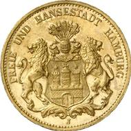 1284: Hamburg. 20 Mark 1908. J. 212. About brilliant uncirculated. Single specimen on the market. Rarest gold coin of the German Empire. Estimate: 125,000 EUR. Hammer price: 110.000 EUR.