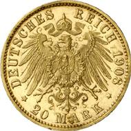 1284: Hamburg. 20 Mark 1908. J. 212. Fast Stempelglanz. Einziges im Handel befindliches Exemplar. Seltenste deutsche Reichsgoldmünze. Schätzung: 125.000 EUR. Zuschlag: 110.000 EUR.
