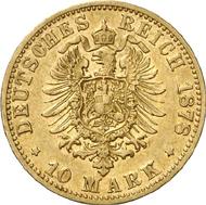 1368: Wilhelm I. 10 Mark 1878 B. Von größter Seltenheit. Sehr schön. Schätzung 60.000 EUR. Zuschlag: 80.000 EUR.