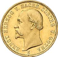 1496: Ernst II., 1844-1893. 20 Mark 1872. Prachtexemplar. Seltenster Typ aller Reichsgoldmünzen. Schätzung: 75.000 EUR. Zuschlag: 130.000 EUR.