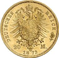 1496: Ernst II, 1844-1893. 20 Mark 1872. Splendid specimen. Rarest type of all coins of the German Empire. Estimate: 75,000 EUR. Hammer price: 130,000 EUR.