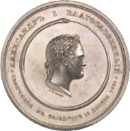 Russia. Alexander I, 1801-1825. Silver medal 1825, from A. Klepikov, on his death. Bust r. with laurel wreath, surrounding ouroboros // radiant all-seeing eye. 68.13 mm; 116.19 g. Diakov 429.2 (R2). Künker 174-179 (Osnabrück 2010), no. 8361.