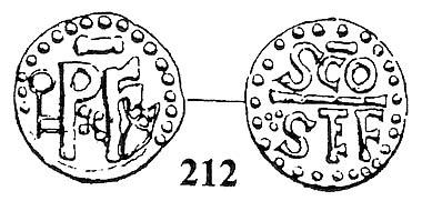 Abb. 2: Pippin der Kurze (752-768). Denar, (Saint-Étienne). PxF zwischen Schlüssel und Kreuz//Zweizeilig SCO / STEF, getrennt durch Balken. Morrison/Grunthal 77. Abbildung bei G. Depeyrot (S. 185, Nr. 212).