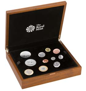 The 2012 Premium Proof Set is encased within a walnut-veneer presentation case.