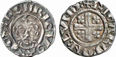 Richard I (1189-1199). Penny, London, approx. 1196-1199. Crowned bust of king. Rv. short voided cross. From Künker auction 137 (2008), 3193.