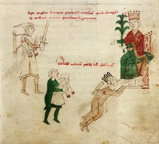 Holy Roman Emperor Henry VI grants a pardon to Richard the Lionheart. Petrus de Ebulo, Liber ad honorem Augusti sive de rebus Siculis, fol 129, recto, c. 1196. Source: Wikipedia.