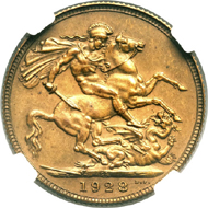 25093: George V bronze pattern Sovereign 1928-SA, reeded edge. Not listed in KM. Hern-U14A (unique). Matte PR64 NGC. Believed to be unique. Estimate: $40,000-$50,000. Realized: $184,000.