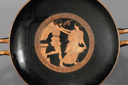 56: Attic bowl of the Penthesilea Painter, c. 460 B. C. H 15.9 cm, diameter without handles 34.8 cm. From Waltz Collection, 1970s. Estimate: 30,000 Euros. End result: 126,500 Euros.