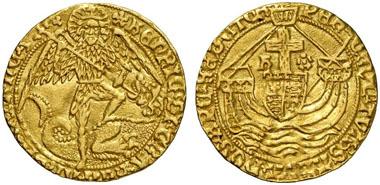 Heinrich VII. (1485-1509). Angel, London, o. J. (1495-1498). Seaby 2181. Aus Auktion Künker 191 (2011), 5170.