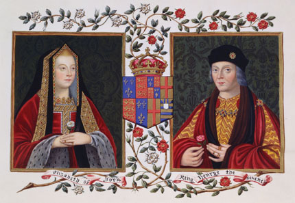 Doppelporträt von Elisabeth von York und Heinrich VII., von Sarah Malden, Countess of Essex (um 1761-1838). Aus: Lucy Aikin's Memoirs of the Court of Queen Elizabeth, um 1825. Quelle: Wikipedia.