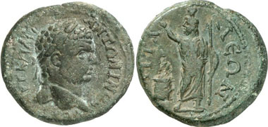 Attaleia (Pamphylia). Caracalla, 211-217. Rv. Sarapis standing in front of an altar. SNG Aul. -. SNG PFPS -. SNG BN -. From auction Gorny & Mosch 196 (2011), 2155.