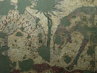 Mosaic from Anemourion. A modern reproduction of this mosaic is to be found at the seafront, see above. Photo: UK.