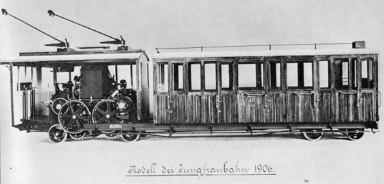 Model of a Rowan train. These trains were used on the Jungfrau Railway in the early days. 1906. Source: Wikipedia.