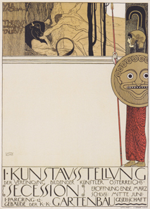 Gustav Klimt, Exhibition poster of the Vienna Secession's first exhibition (censored version), 1898. Wien Museum. Source: Wikipedia.