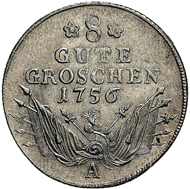 8 Gute Groschen - Wochensold eines preußischen Soldaten und klassische Münzsorte des Siebenjährigen Krieges, 1756, Münzstätte Berlin. Silber, 32 mm, 8,61 g. IKMK 18219520. Foto: Dirk Sonnenwald.