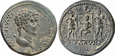 Seleucia. Caracalla. Rv. Infant Dionysos enthroned, three corybants dancing around him. SNG Levante 748. From Gorny & Mosch 159 (2007), 306.