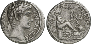 Augustus. Tetradrachm, 5 BC. Rv. Tyche of Antioch, beneath her feet Orontes. From Gorny & Mosch 200 (2011), 2250.
