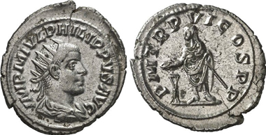 Philipp II. Antoninianus, Antioch. Rv. Philipp sacrificing. RIC 236. From Gorny & Mosch 200 (2011), 2750.