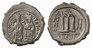 Phocas and Leontia. Follis, 603/4, Antioch (= Theopolis). Sear 671. From Künker 153 (2009), 9127.