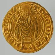 Dieser Goldgulden wurde im Burghus in Hünenberg entdeckt. Es handelt sich um eine Prägung des Erzbistums Köln aus der Münzstätte Bonn (1421). Kantonsarchäologie Zug (Direktion des Inneren). Foto: Museum für Urgeschichte(n), Res Eichenberger.