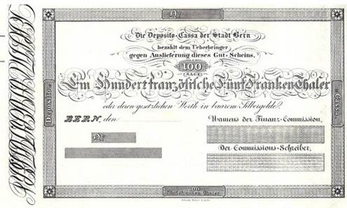 Die älteste erhaltene Schweizer Banknote. Sie wurde 1825 von der Deposito-Cassa der Stadt Bern herausgegeben.