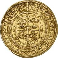 51: POLEN. Sigismund III. (1587-1632). 1/2 Portugalöser zu 5 Dukaten 1621. Fb. 78. Von allergrößter Seltenheit, vz. Taxe: 75.000 Euro, Zuschlag: 120.000 Euro.