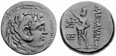 Alexandreia am Issos. Bronze, 2. Jh. v. Chr. Kopf des Herakles. Rv. Zeus. SNG Levante 1834. Aus Auktion Münzen und Medaillen 19 (2006), 39.