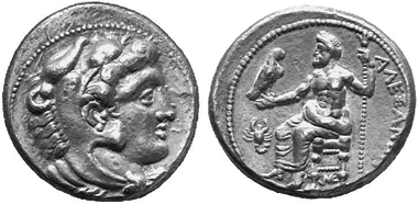 Alexander the Great. Tetradrachm, Myriandrus, 330-325. Head of Heracles. Rv. Zeus on throne, in the field scorpion as mint mark. Price 3218. From Münzen und Medaillen auction 10 (2002), 192.