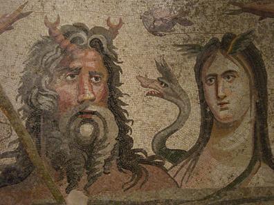Flußgottheiten. Mosaik im archäologischen Museum von Antep. Foto: UK.