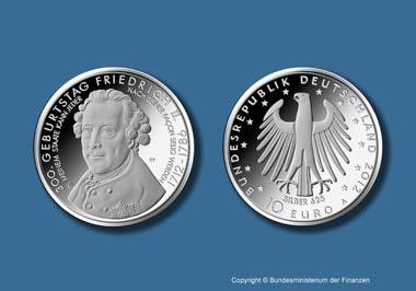 Die neue 10-Euro-Gedenkmünze auf Friedrich den Großen. Copyright Bundesministerium der Finanzen.
