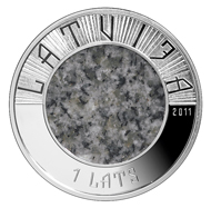 1 lats - central disc of granite, outer ring of 925 silver - 35.00 mm - 13.60 g - Design: Laimonis Senbergs, Janis Strupulis - Mintage: 7,000.