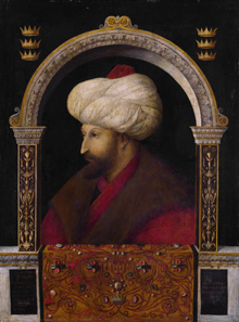 Portrait of Sultan Mehmed II attributed to Gentile Bellini, 1480. National Gallery London. Source: Wikipedia.