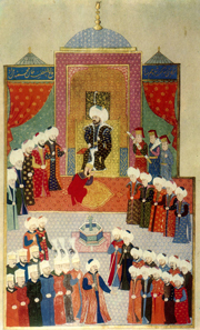 Accession of Mehmed II in Edirne 1451, 1584. Topkapi Palace Museum, Hazine 1523, Hüner-name. Source: Wikipedia.