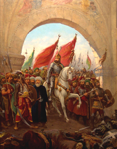 Mehmed II, Entering to Constantinople by Fausto Zonaro (1854-1929). Source: Wikipedia.