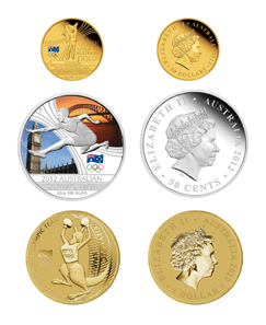 Australia - Design: Wade Robinson - Mintage: 750 (set), 2,012 (single gold coin). Three coin set: 60 AUD - Gold 999 - 10 g - 22,50 mm // 2. 0.50 AUD - Silver 999 - 15.591 g - 36.60 mm // 1 AUD - aluminium bronze - 13.80 g - 30.60 mm.