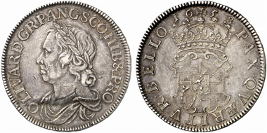 Oliver Cromwell (Lord Protector 1653-1658). Crown, London, 1658, London. Seaby 3226. From Künker auction 184 (2011), 5441.